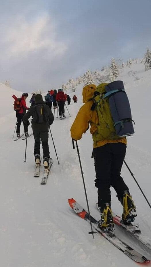 Gruppe med mennesker går på ski