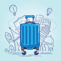 Illustrasjon av koffert på reise